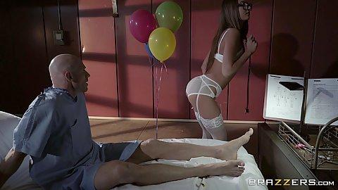 Alluring nurse in sexy lingerie Lily Adams
