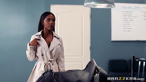 Wild black girl walks into the office Sarah Banks and gets touched and face fucked by security