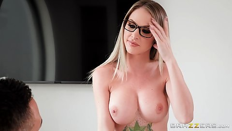 Office busty girl with very firm breasts Jenna Jones