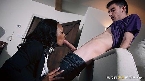 Ebony hottie sucking large white penis in sneaky milf fuck Lola Marie