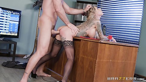 Karma Rx hair pulling standing bang over office desk and deep throat