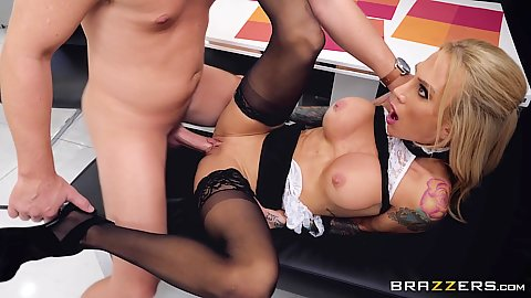 Spread legs frontal entry and cumshot all over face of maid mommy Sarah Jessie