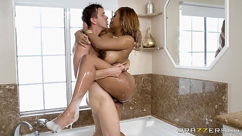 Standing bathroom soapy banging with round big booby black milf Moriah Mills and white penis