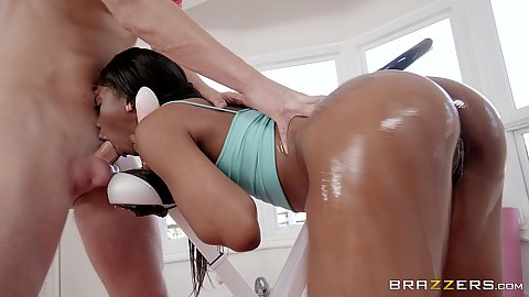 Oiled up shiny black butt girl Sarah Banks giving deep throat at the gym and in the air anal fuck