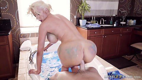 Taking a sexy paint bath and a footjob with big chested round ass milf in pov Nicolette Shea