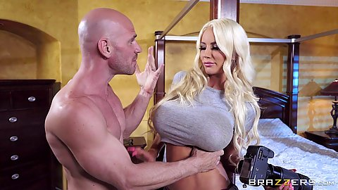 Big melons blonde hottie milf Nicolette Shea in for a private dick lay