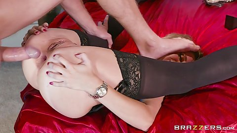 Ass spreading anal gaping with raised legs rough sex ass pumping Anya Olsen