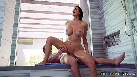Reverse cowgirl dick sitting milf in water shortage shower pounding Reagan Foxx