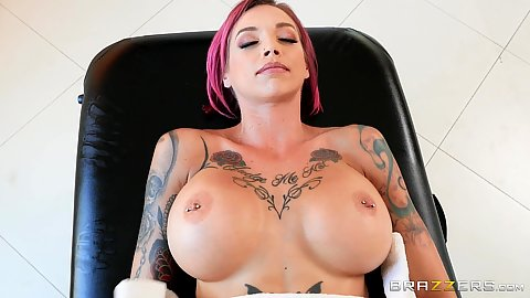 Really large boobed milf Anna Bell Peaks with nipple piercings relaxing for massage