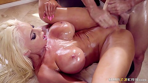 Oiled large firm boobies on athletic milf with abs Nicolette Shea frontal and rear penetration