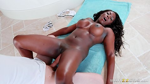 Frontal big white cock nailing busty black slut Jai James during thai massage