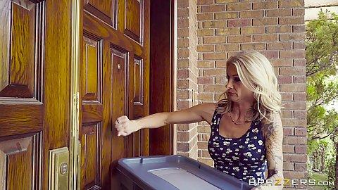 Blonde milf Synthia Fixx bringing something over to neighbors house