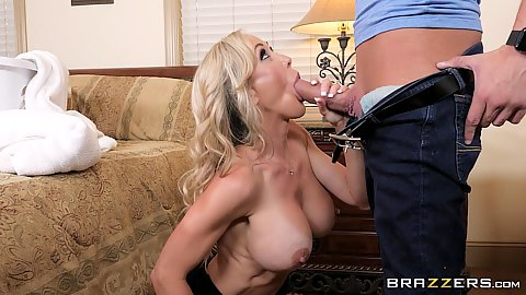 Big boobed Brandi Love is sucking some penis and cooking something on the stove