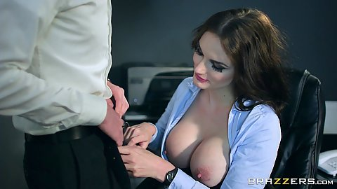 Pulled out tits brunette Marie Clarence is one cock sucking secretary