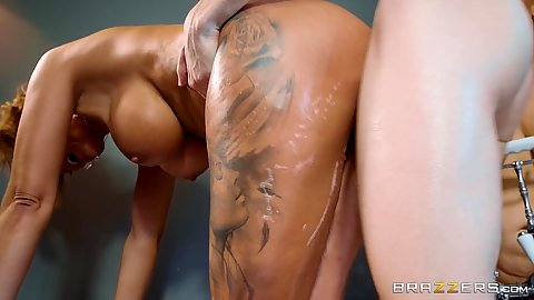 Bent over soapy milf mom fuck in bath with Rebecca More and Stacey Saran
