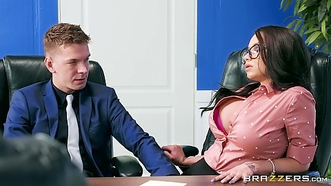 Raven Bay hot shy about showing some boobies in office with anal sex