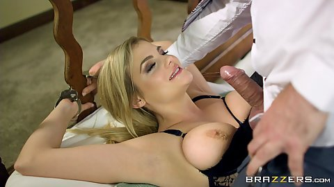 Handcuffed milf Katy Jayne in lingerie with boobs popping out