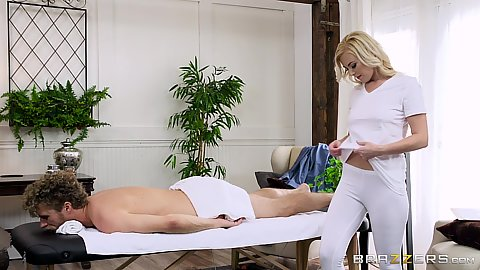 Summer Day is a leggings wearing female masseuse climbing on client