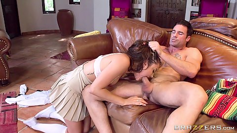 Blowjob and deep throat with small chested Adria Rae paying off her daddys debt