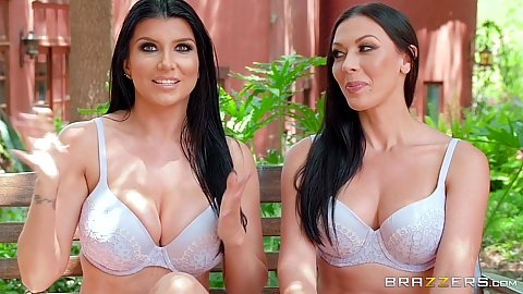 Bras and panties stripping lesbos outdoors Rachel Starr and Romi Rain