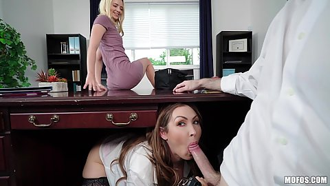Under the table boss sharing wife threesome with Yasmin Scott and Riley Star and secretary