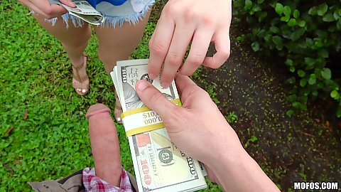Sex for cash with Mila Marx taking money and taking dick like a champ