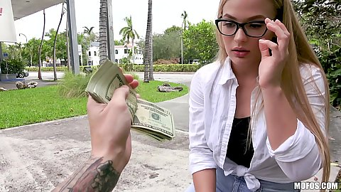 Incredible girl in glasses Sloan Harper considers accepting cash for sexual act in public