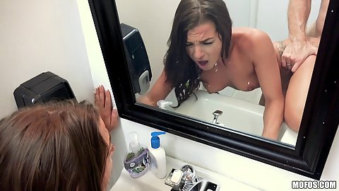 Fucked in bathroom at the mall with small chested Evelin Stone near mirror