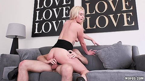 Cock bouncing blonde slut Summer Day riding cock on office sofa