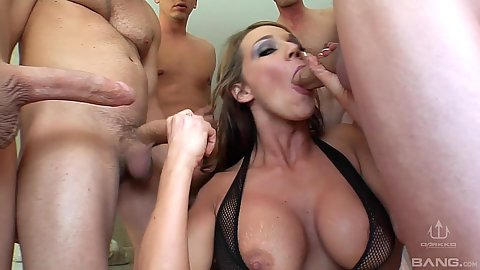 Busty lady loves to deep throat during milf gang bang sessions sd2 and Nikki Sexx
