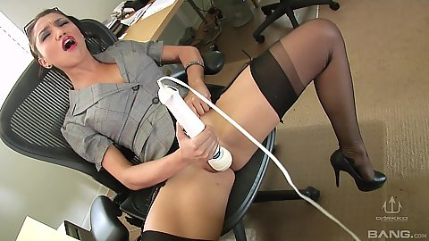 Asian girl Vicki Chase took off her panties to masturbate with vibrator on office chair then deep throat gang bang