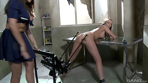 Lesbian slave machine fetish ass spanking with Kittie and Valery Summer