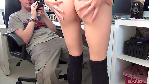 Skinny amateur Paige Fox showing her ass to a pervert who films herstan