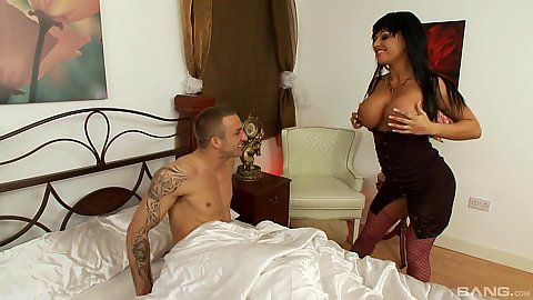 Big boobed milf Kerry Louise wearing a sexy black dress