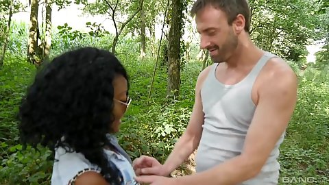 Ebony outdoor fully clothed pickup and fuck in lingerie