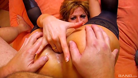 Ass fingering and almost the whole hand is in there with stockings rough sex loving girl