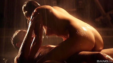 Sensual dick sitting on the running water in shower with all wet and hard nipples chick