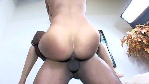 In the air fuck with round butt ebony girl London Reigns having some sweet natural knockers