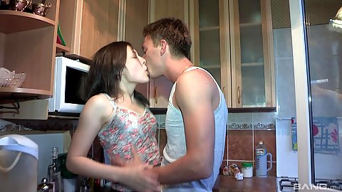 Charming Olga 18 year old gf making out with bf in kitchen and gets naked for sex