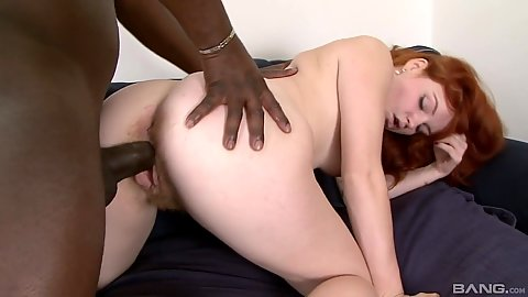 Naive redhead Barbara Babeurre with hairy cunt from behind with large black cock