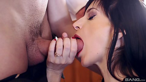 Large dick in the mouth of housewife Ava Courcelles