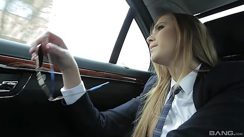 School girl Alexis Crystal is taking the limo ride to school when her chauffer gets in backseat