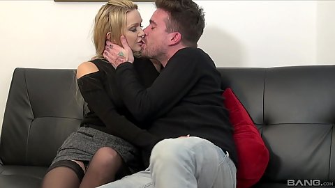 Blonde miniskirt cheating milf wife kissing and getting laid with husbands brother in law