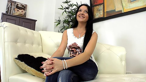 Interview with fully clothed teen amateur Jenna Carlton stripping naked at audition