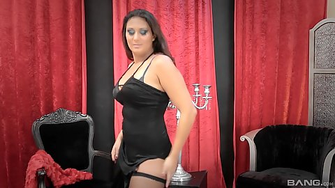 Euro luxury Portuguese escort Rebecca Pinar stripping solo