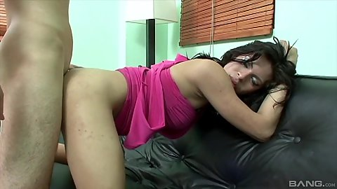 Bent over fuck and facial for half dressed latina Mexican shemale Kally