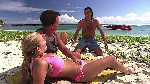Bikini lovely Jessica Moore tanning on the beach and working two cocks with lovely fleshy body