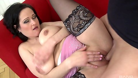 mature pussy sex with natural fleshy chest milf mom on sofa