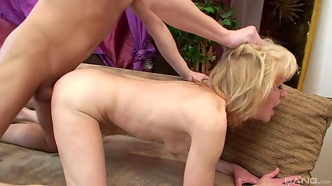 Hairy pulling granny rear entry fuck in her pussy hole