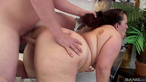 Jelly belly bbw chick Denny bent over and hair pulled sex